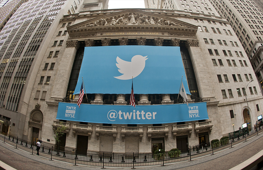 A Twitter banner hangs outside the New York stock exchange