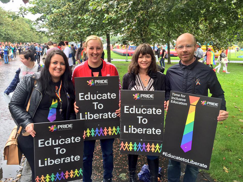 Politicians joined Glasgow Pride's parade to fight bullying in schools.