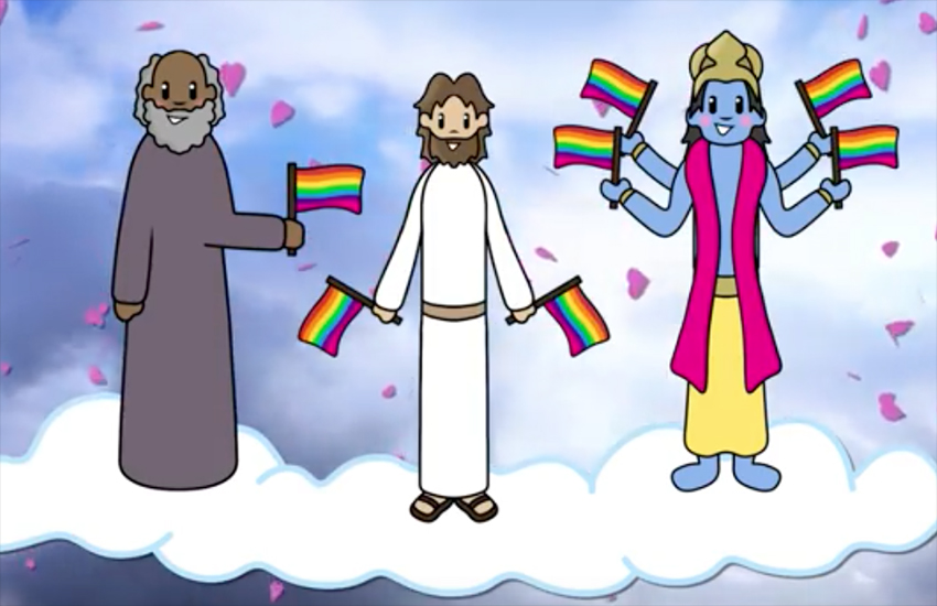 The video touches on various religious beliefs