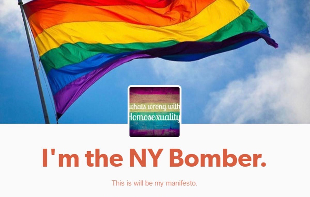 Tumblr page claiming responsibility for the bombing in Chelsea, a LGBTI friendly neighborhood in New York City