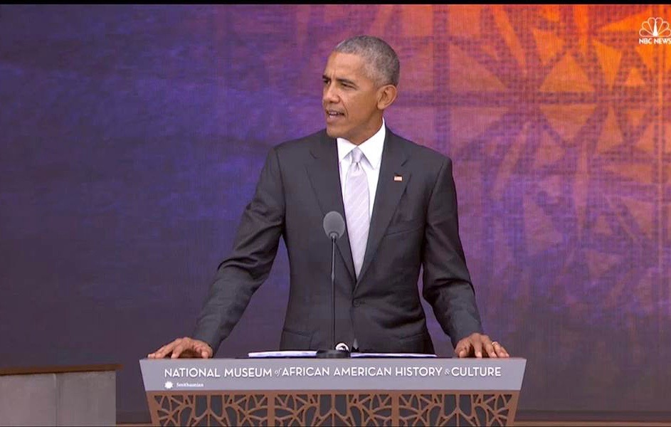 President Barack Obama speaking at the opening of the Smithsonian National Museum of African American History and Culture