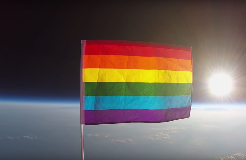 Rainbow flag goes up, up and away in space