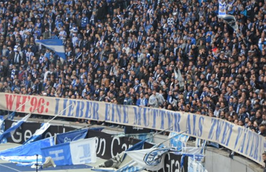 This is the banner homophobic fans held up at German football match