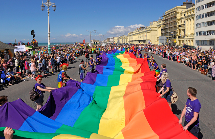 A rainbow flag at the 2016 Pride Parade in Brighton