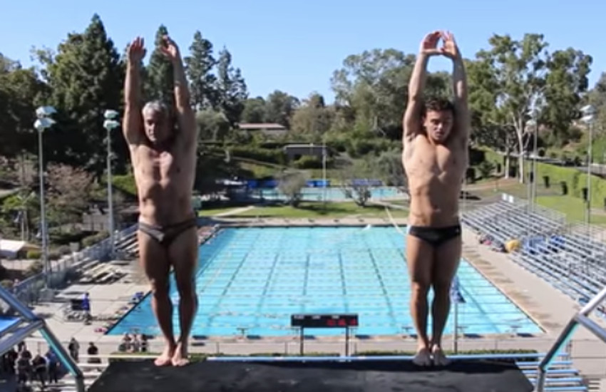 Greg Louganis, 56, and Tom Daley, 22, prepare to dive together.