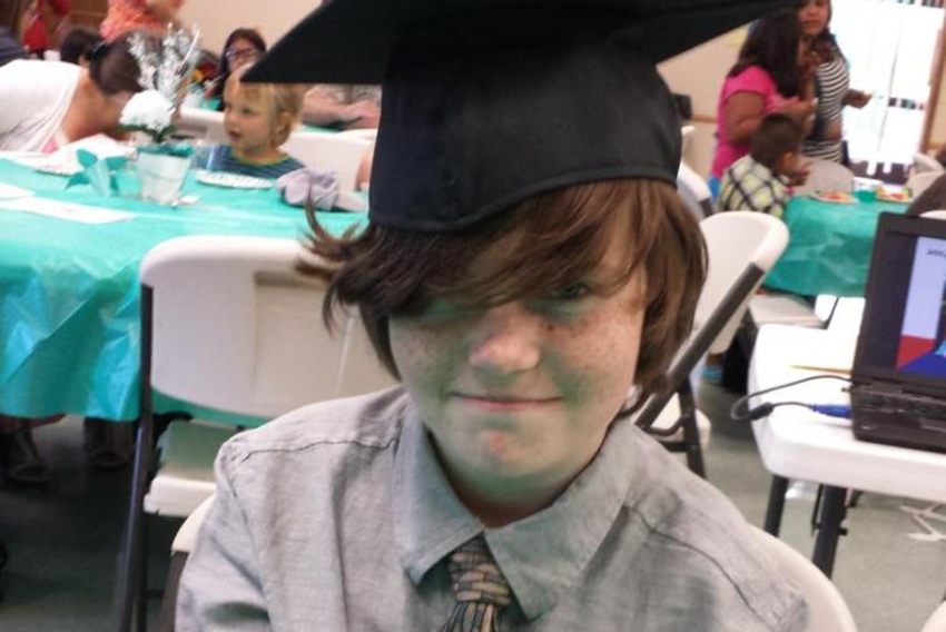 Kyler Prescott at his 8th grade graduation