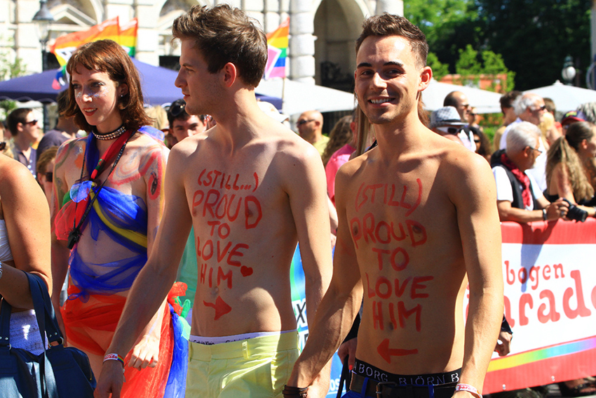 Gay couple at Vienna Pride