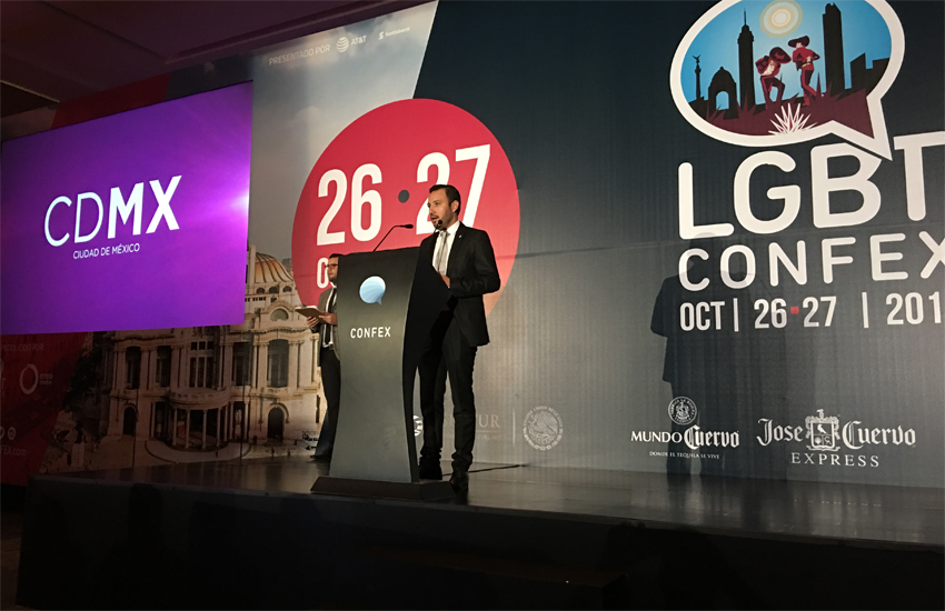 LGBT Confex CEO Ruben Sandoval speaks at the opening of the event in Mexico City