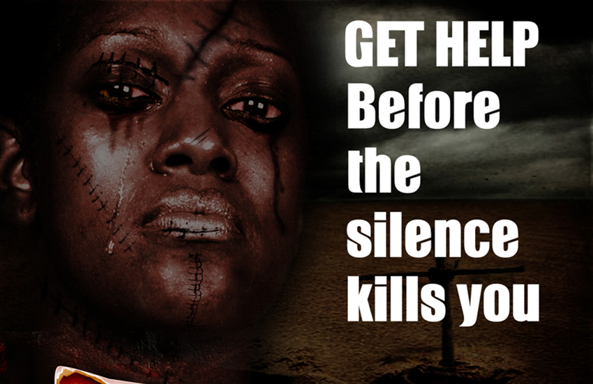 Poster calling for domestic violence victims to seek help.