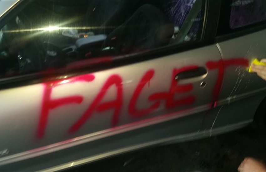 The couple's car was targeted with three homophobic slurs