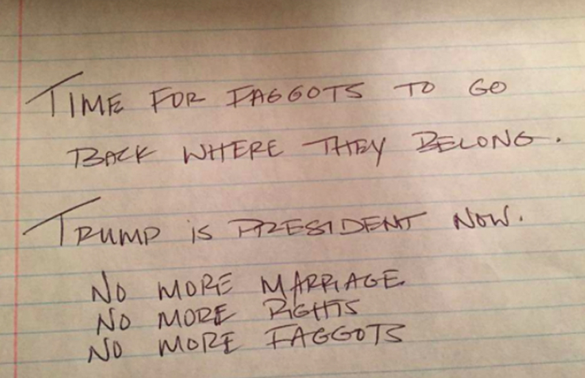Someone left this note on a car in North Carolina