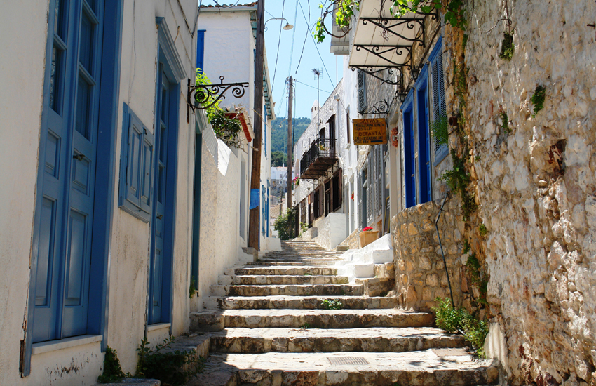 A charming walkway on the tiny island of Hydra