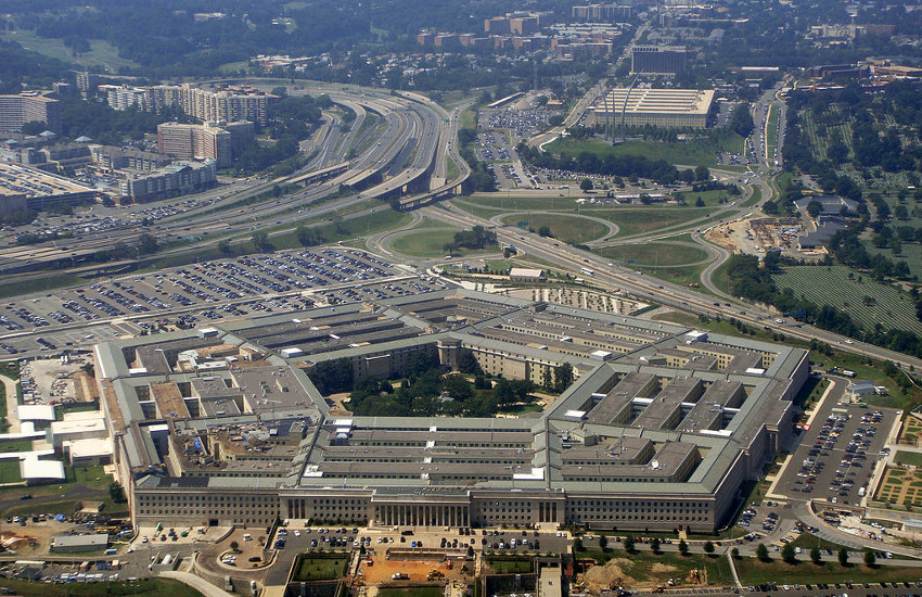 Aerial view of The Pentagon, headquarters of the US Department of Defense.