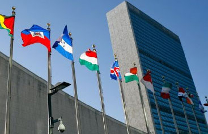 Flags outside the United Nations in New York City. advocacy