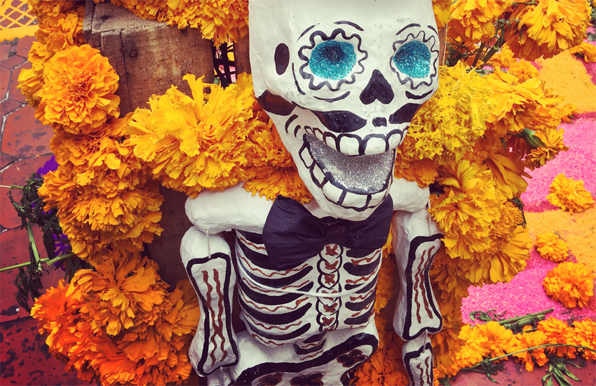 A Day of the Dead skeleton in Mexico City
