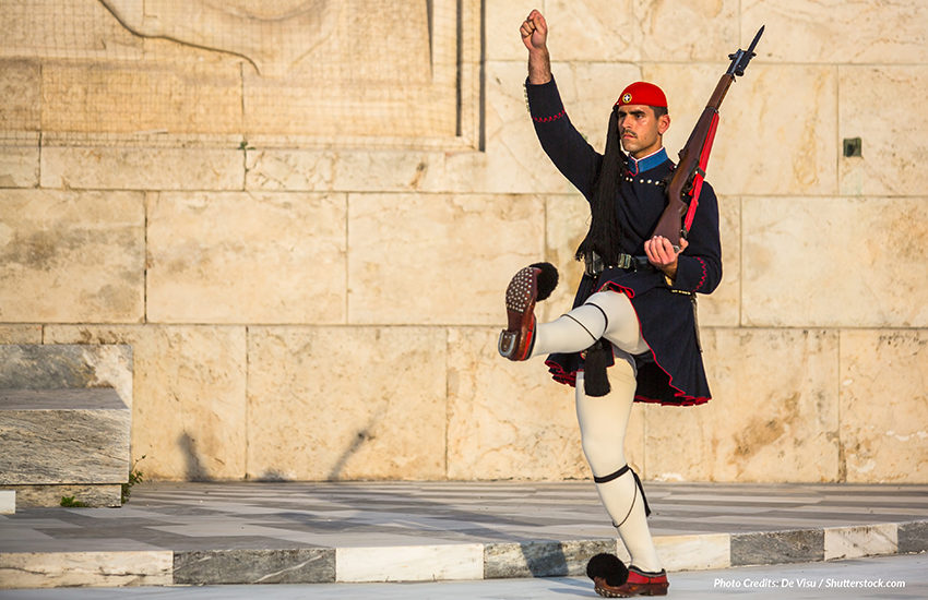 An Evzone soldier of the Presidential Guard, an elite ceremonial unit, guards the Greek Tomb of the Unknown Soldier
