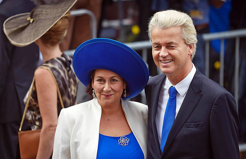 Geert Wilders with his wife Krisztina.