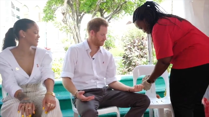 Rihanna and Prince Harry were given HIV tests on World AIDS Day.