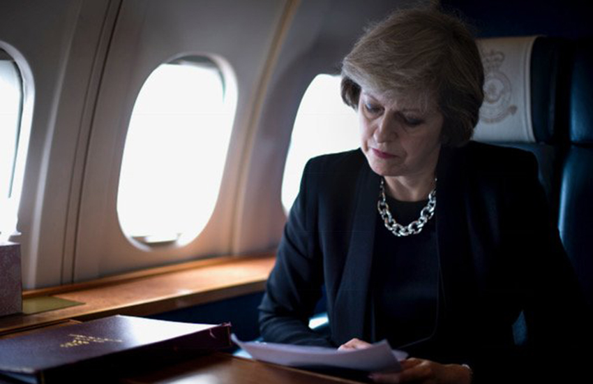 UK Prime Minister Theresa May flying to the Gulf.