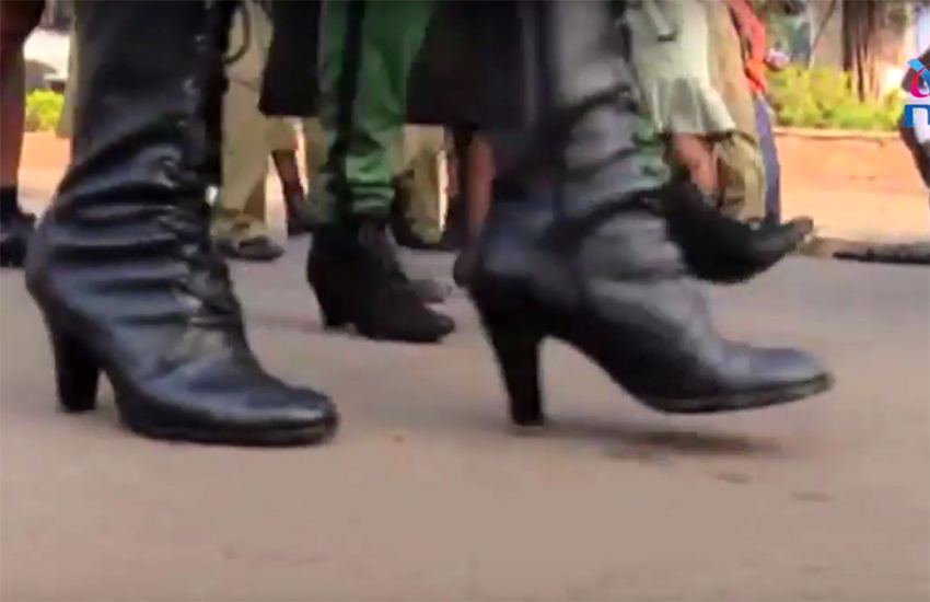 Ugandan police officers strap on some high heels for campaign