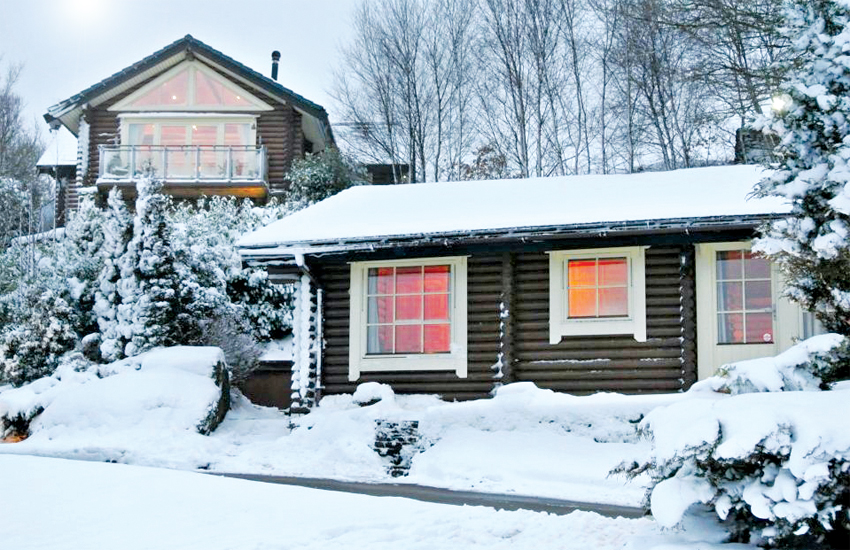 A snowy scene at Faweather Grange Lodges