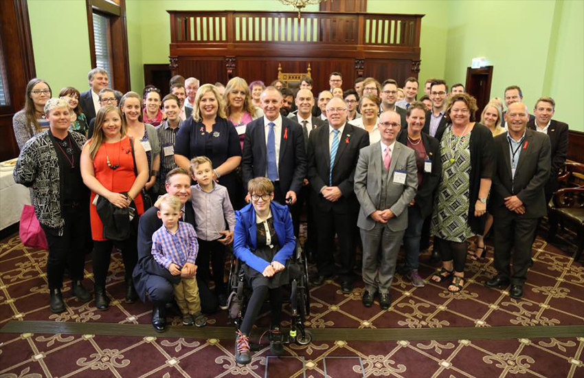 Jay Weatherill in Parliament yesterday with representatives from LGBTI communities