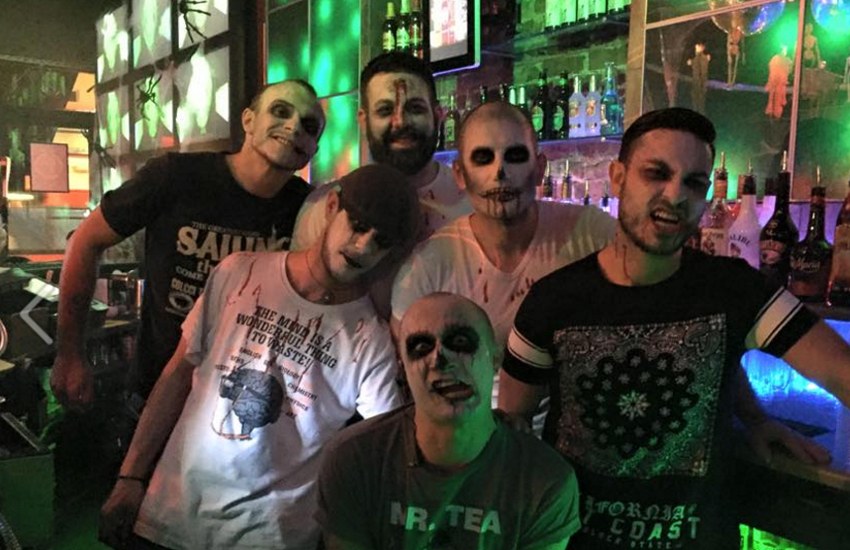 The cute bar guys of Kazbar dressed up as zombies for Halloween this year