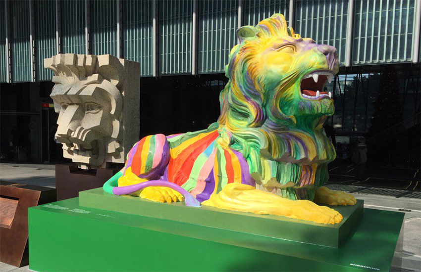 Stephen, one of the rainbow lions outside HSBC in Hong Kong