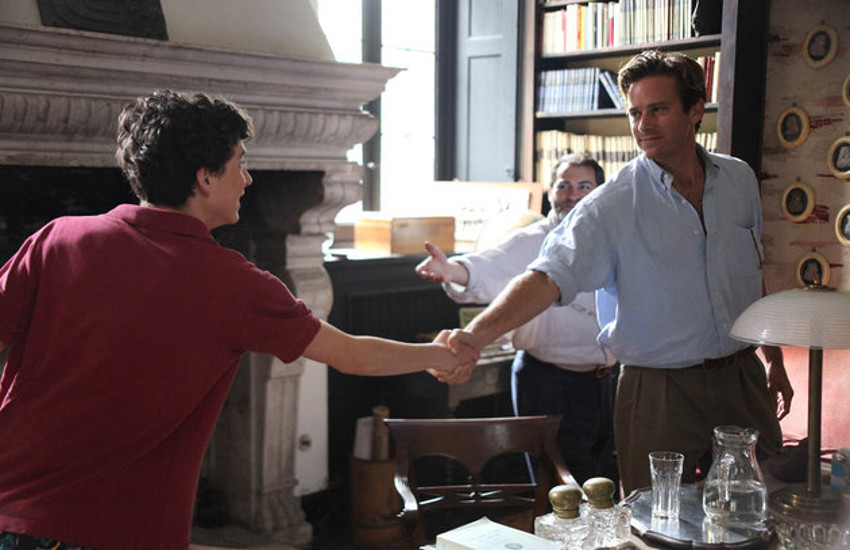 Timothée Chalamet and Armie Hammer appear in Call Me by Your Name.