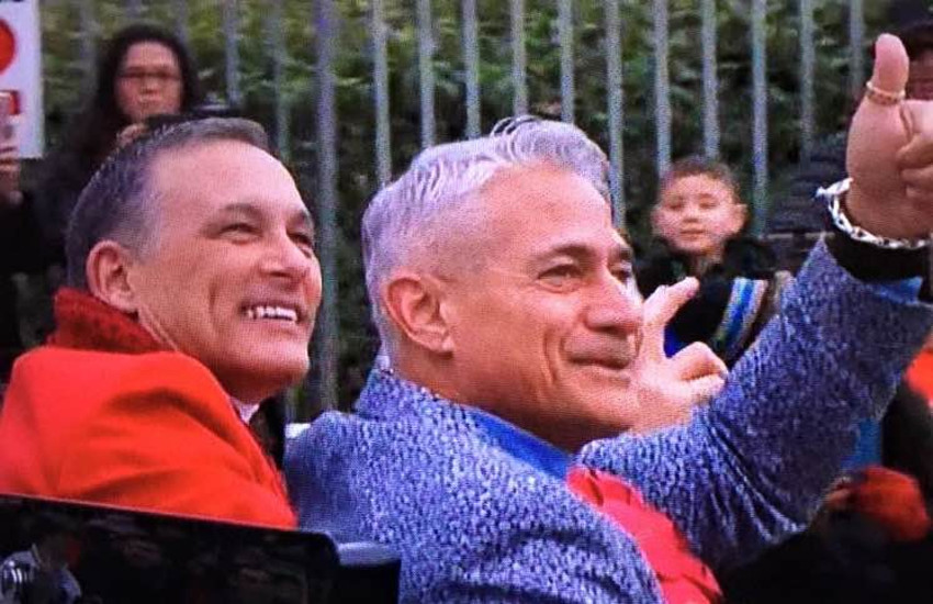 Greg Louganis and husband Johnny Chaillot-Louganis in 2017 Rose Parade.