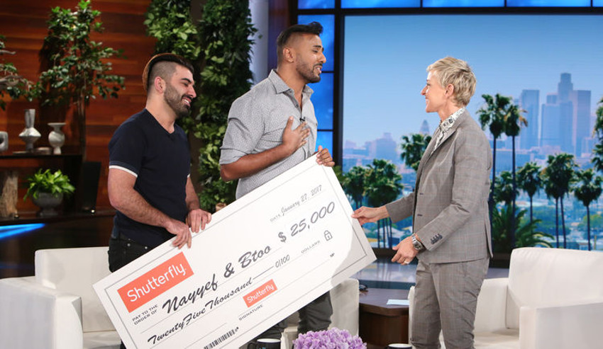 Nayyef (middle) and Btoo are thrilled to receive $25,000 on The Ellen DeGeneres Show.