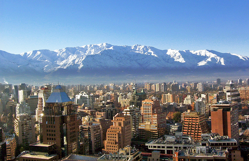 A stunning section of the Andes mountain range overlooks Santiago – the largest city in Chile
