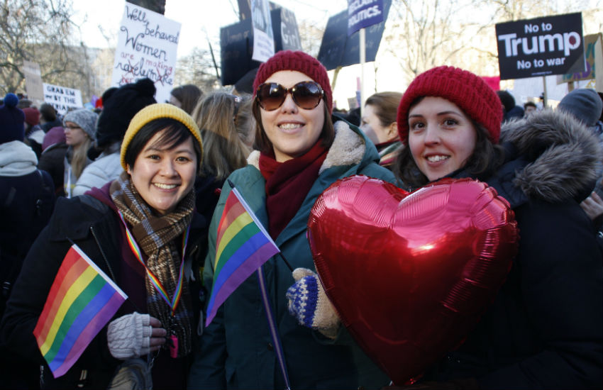 Married couple, Sheila and Hannah Young (left and middle) at the London Womens March 2017