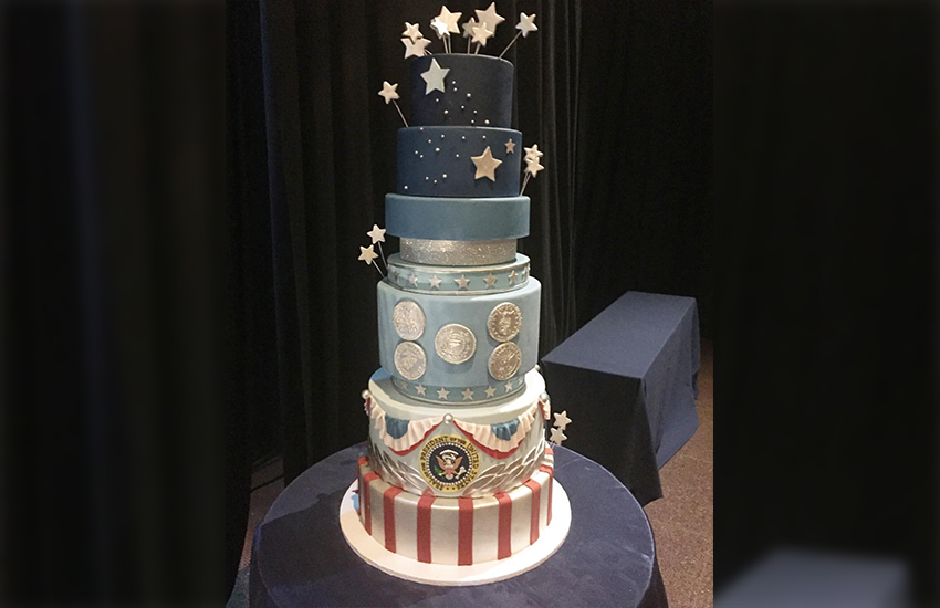 The cake produced by Buttercream Bak Shop for the Inauguration Ball