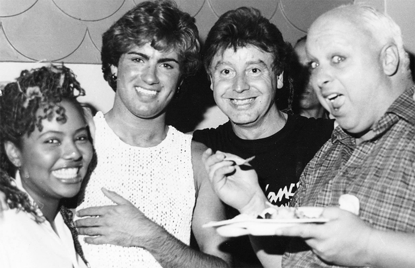 Pat Fernandes, George Michael, Norman Scott and Divine at Bolts, 1983