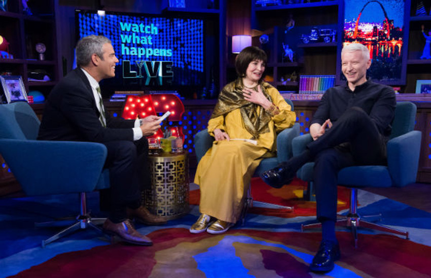 Andy Cohen interviewed Gloria Vanderbilt and her son Anderson Cooper on Watch What Happens Live.