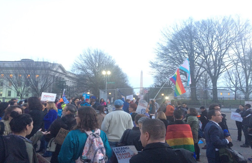 Protesters marched in front of The White House for the rights of transgender students.
