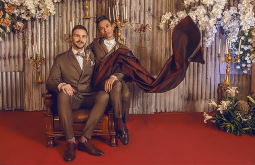 Having already married in Germany, gay couple Naparuj Mond Kaendi and Thorsten Mid recently shared a photo of their Thai ceremony on Instagram