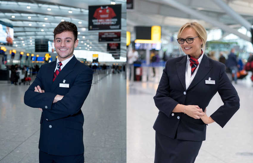 Olympic icon Tom and Spice Girl Emma donned the famous BA uniforms for Red Nose Day