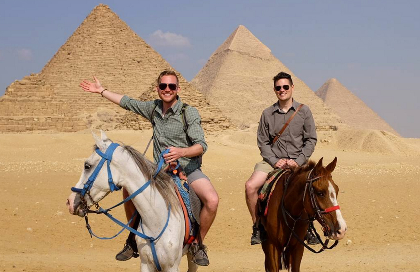Kevin and Brad take in the Egyptian pyramids