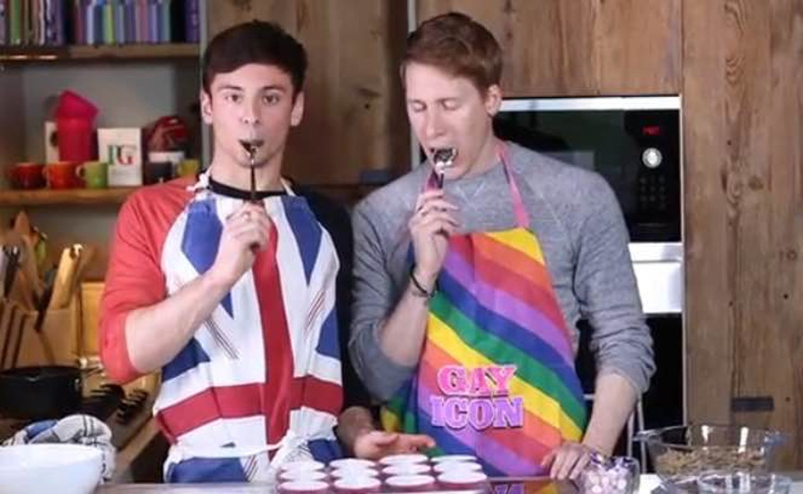 Tom Daley and Dustin Lance Black making Easter treats