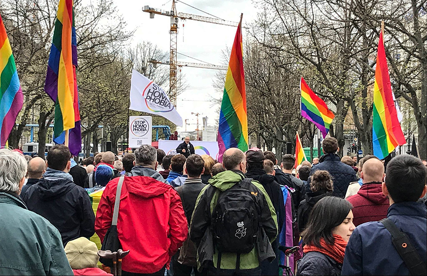 Protestors demonstrated against Chechnya's persecution of gay men