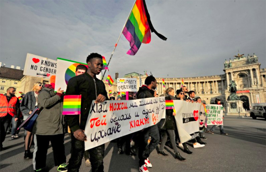 Hundreds came out in solidarity with the gay men in Chechnya