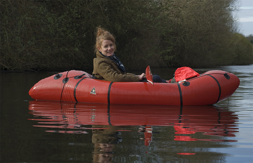Alys Fowler in her inflatable boat
