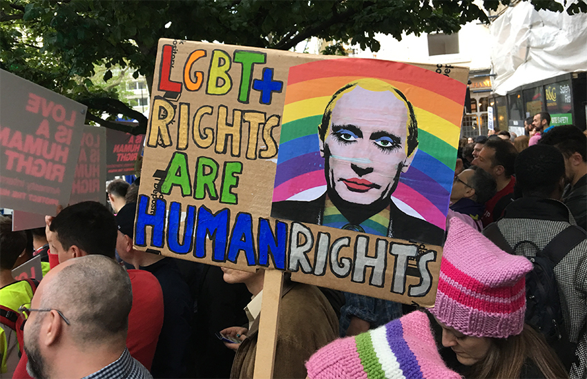 London protest against Russian persecution of LGBTI people
