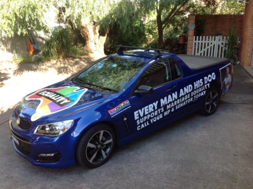Aussie dad remodels his ute in support of marriage equality. Photo: Geoff Thomas
