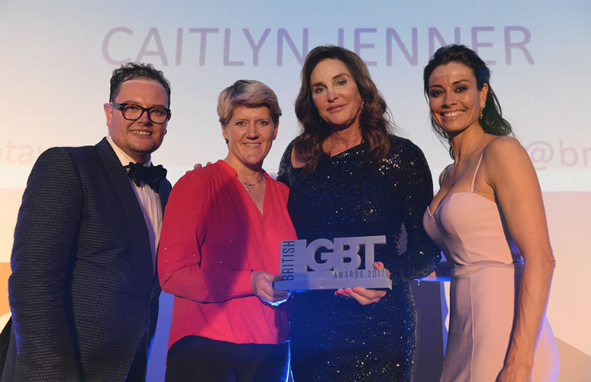Caitlyn Jenner receives award at the British LGBT Awards transphobic abuse