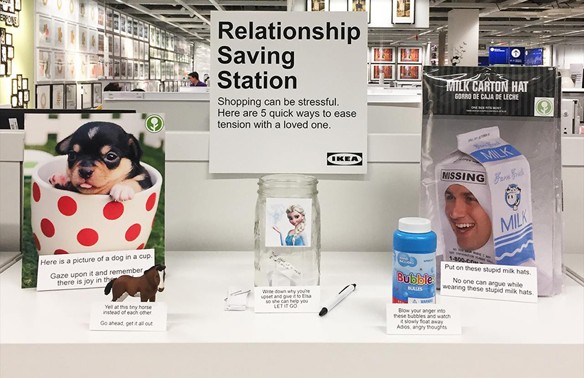 A comedian planted a relationship saving station in a Californian IKEA store