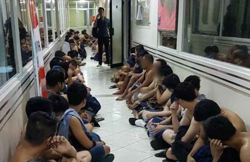 Some of the arrested men taken from the sauna