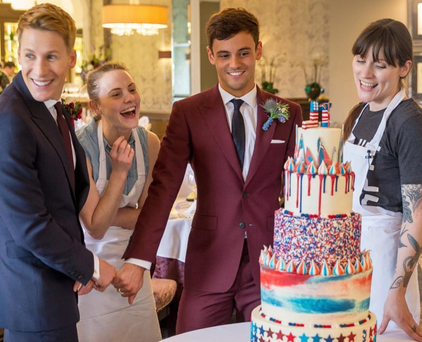 Tom Daley and Dustin Lance Black's five-tiered wedding cake was a work of art. Photo: Instagram